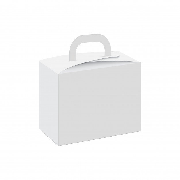 White Color Pastries And Cake Packaging Box With Handle Vector File Illustration