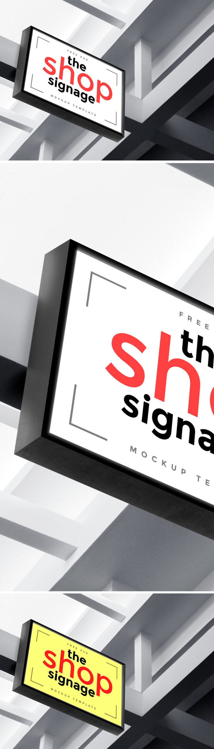 White Color Shop Signage Board Mockup