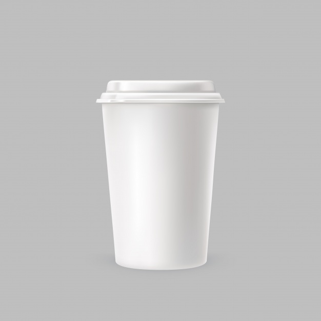 White Color Simple Coffee Cup Vector Format