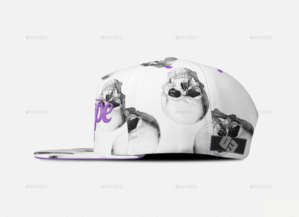 White Color Snapback Cap Illustration With Skull Sketch Printed