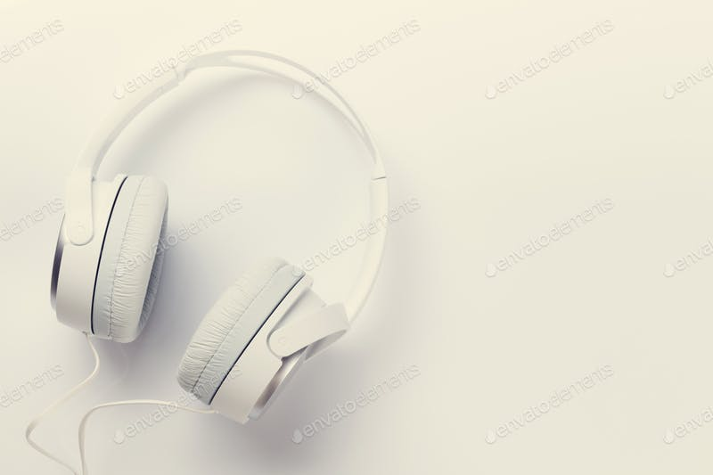 White Colored Headphones PSD Template.