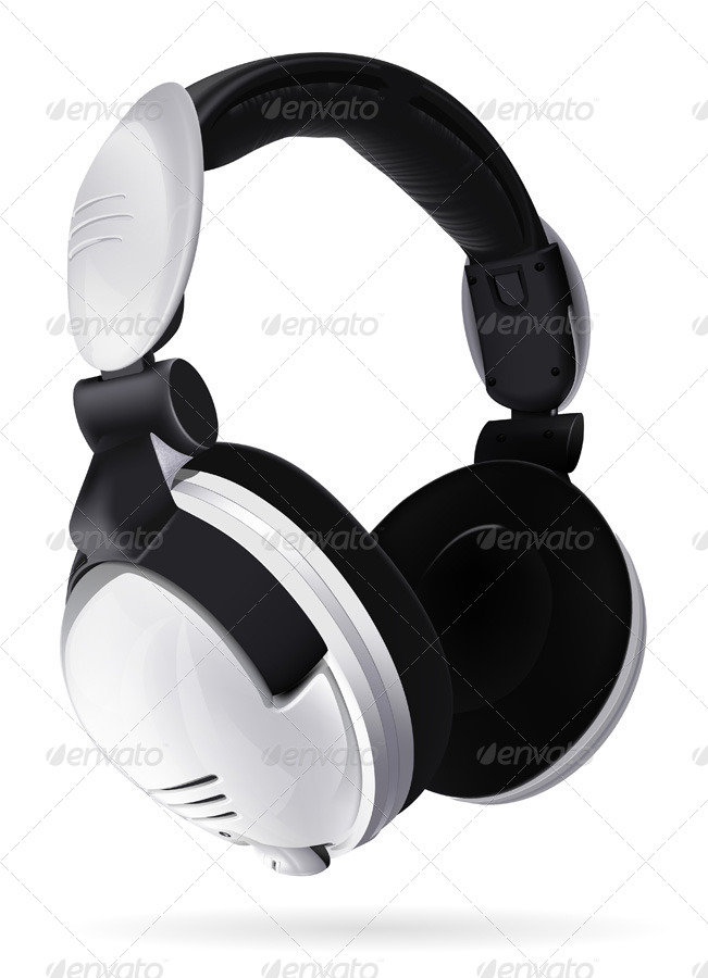White Colored Modern Headphone Mockup.