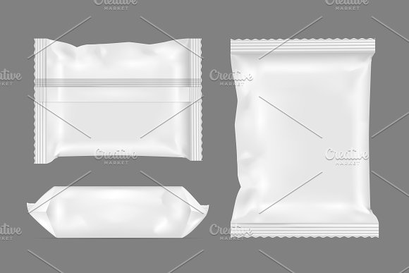 White Foil Bag PSD in Simple Background: