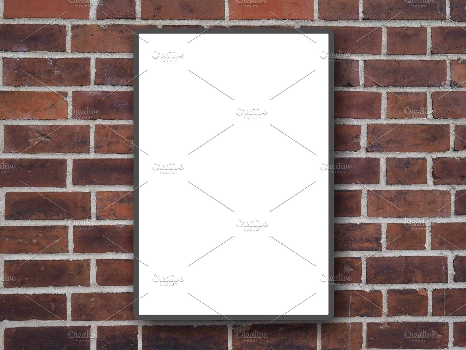White Hoarding Mockup hanged on a Red Brick Wall