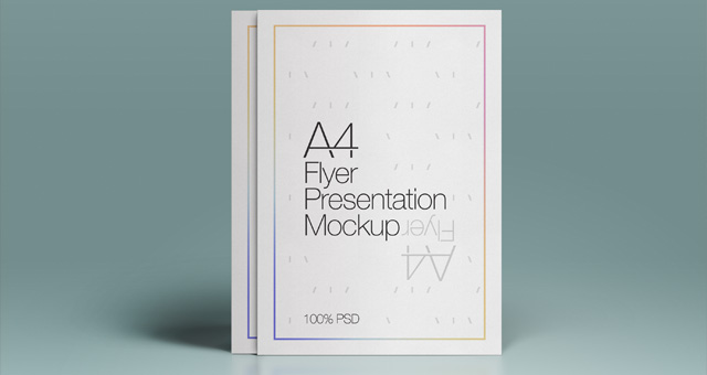 White Outlined Blank A4 Size Flyer Mockup