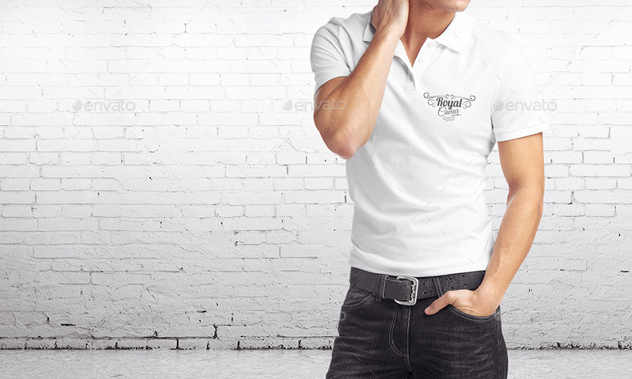 White Polo T-shirts Mockup for Man