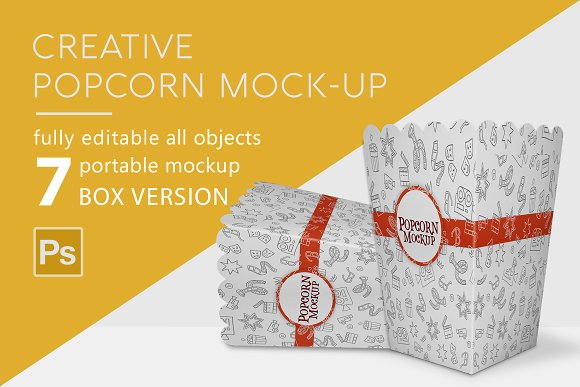 White Popcorn Pouch Design Template in PSD Format