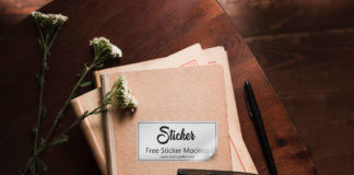 Free White Sticker Mockup PSD Template
