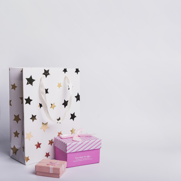 White and Pink color cardboard mockup box.