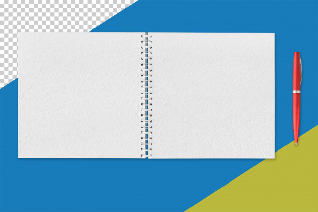 White open notepad and red pen Premium Psd