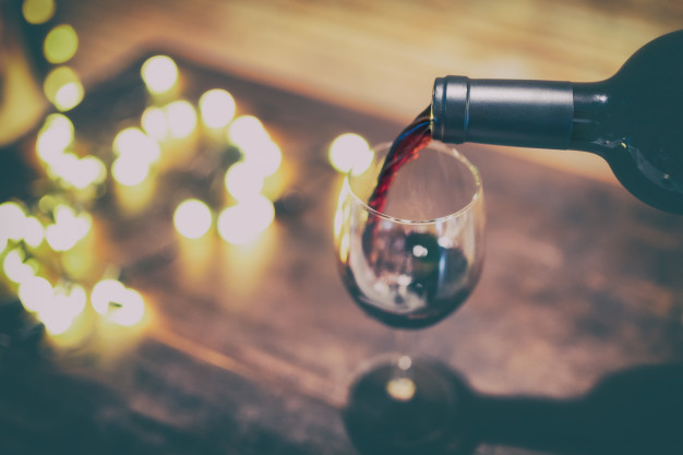 Wine Bottle And Glass Illustration With Attractive Filter