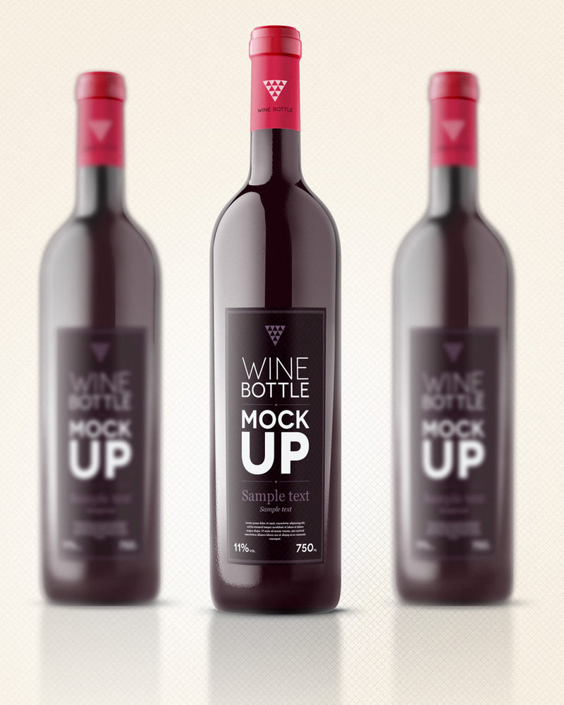 Wine Bottle Label Design With Red Lid PSD