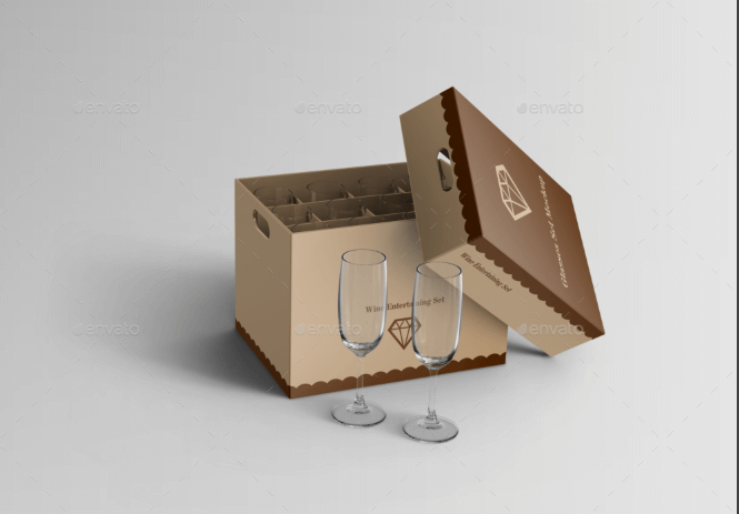 Wine Glasses In the Box Mockup
