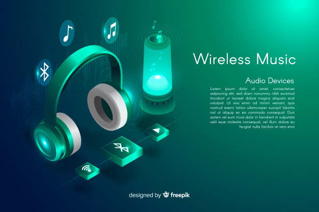 Wireless Isometric Music Background Vector template