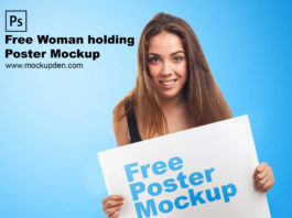 Free Woman Holding Poster Mockup PSD Template
