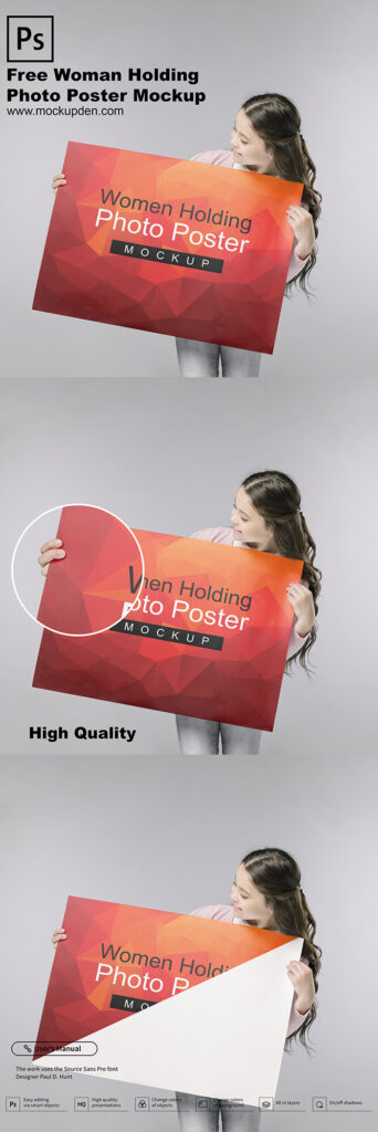 Woman Holding Photo Poster Mockup Free PSD Template