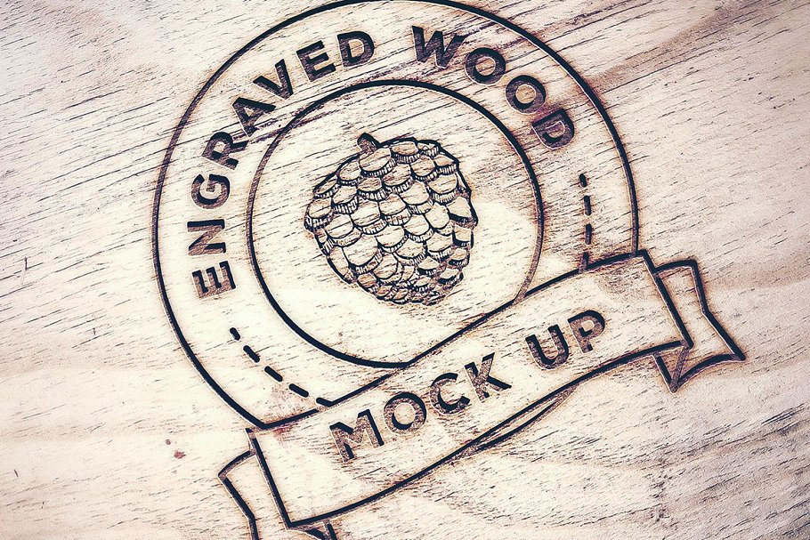 Wood Company Stamp Printed On Wooden Surface Mockup
