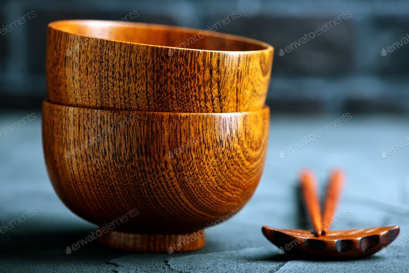 Wooden Bowl And Chopstick On Floor Mockup