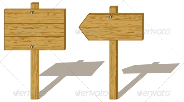 Wooden Direction Board Mockup