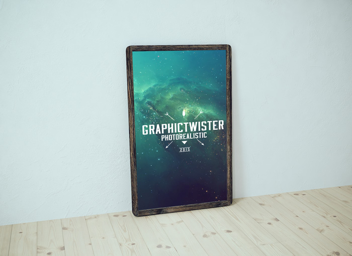 Wooden Frame Free Poster Mockup PSD Template