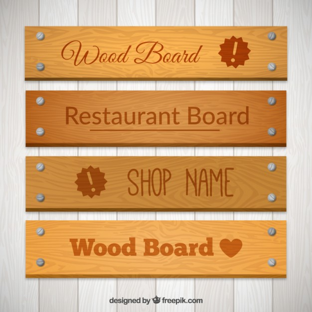 Wooden Restaurant Sign Board Vector File