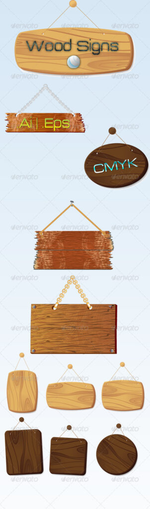 Wooden Wall Hanged Sign Board Mockup