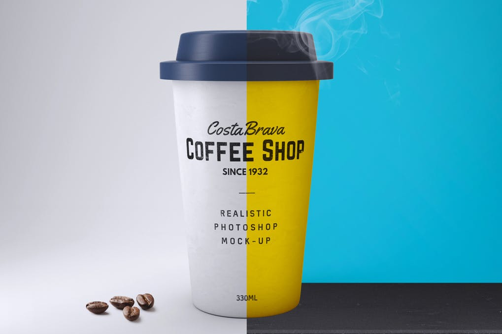 Yellow And White Paper Coffee Cup Mockup