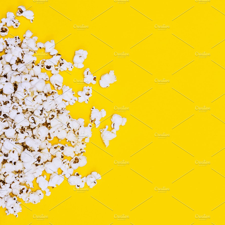 Yellow Background and Popcorn PSD Design Template