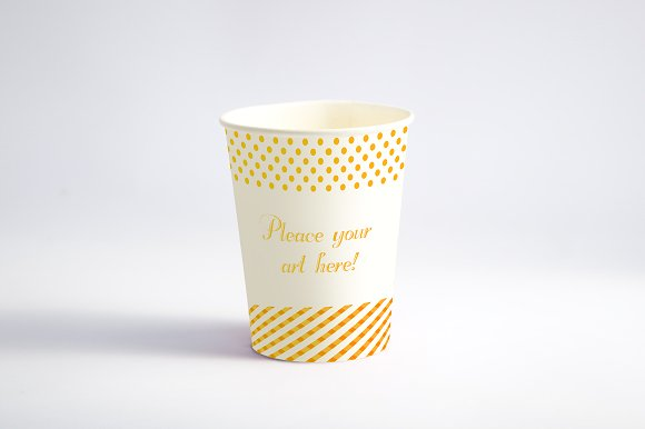 Yellow Color Dotted Print Paper Cup Design Template