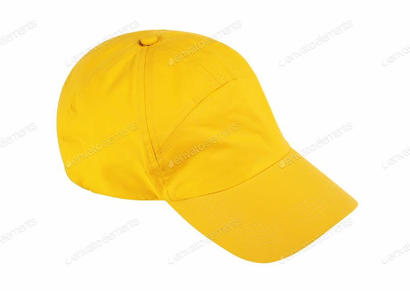 Yellow Color Shining Baseball Cap Mockup