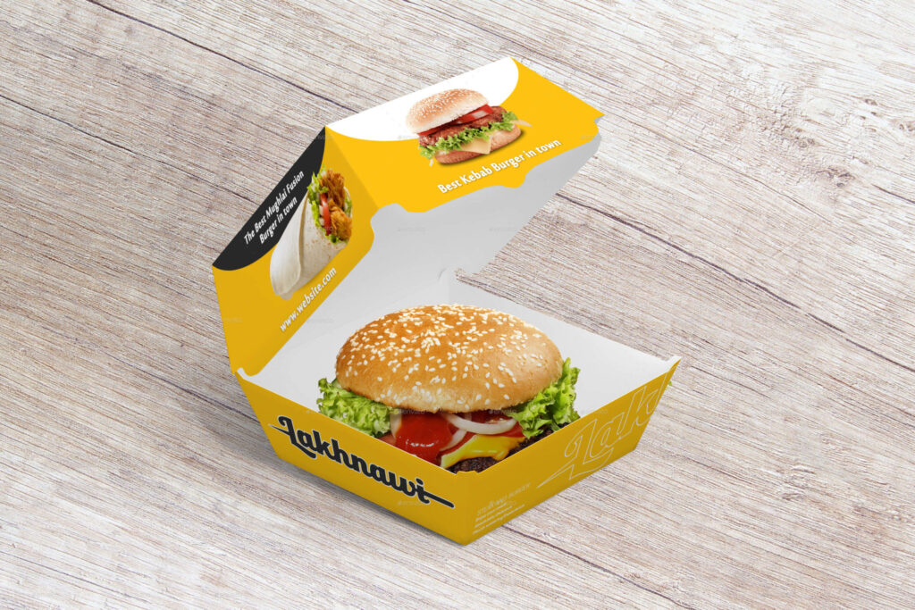 Yellow Colored Burger Box Mockup.
