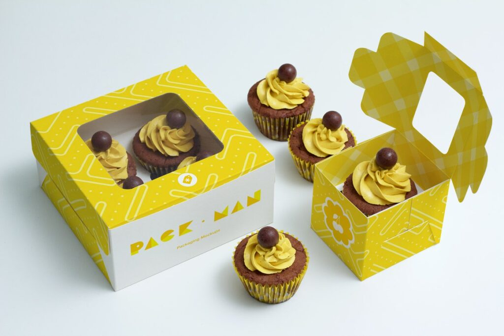 Yellow Colored Cupcake Box Mockup