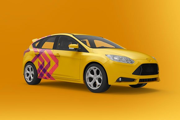 Yellow Colored Hatchback Mockup.
