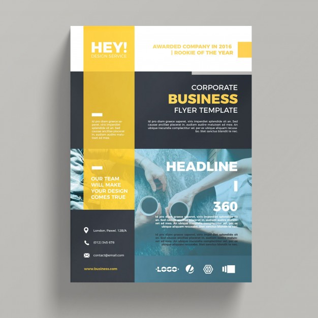 Yellow Corporate Business A4 Flyer Mockup Free template