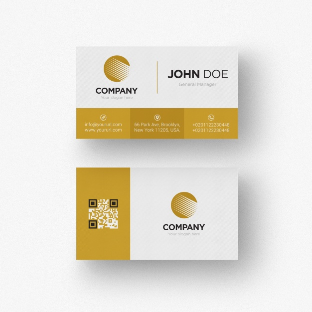 Yellow Striped Business Card Mockup With Logo Print