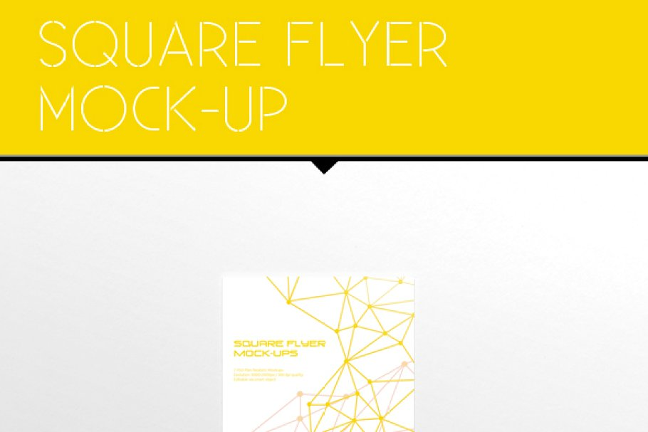 Yellow Stripes Printed Square Flyer Mockup