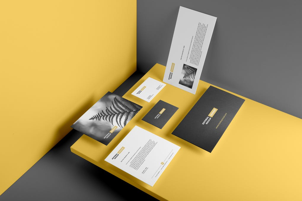 Yellow and Black Color Business Card And Letterhead