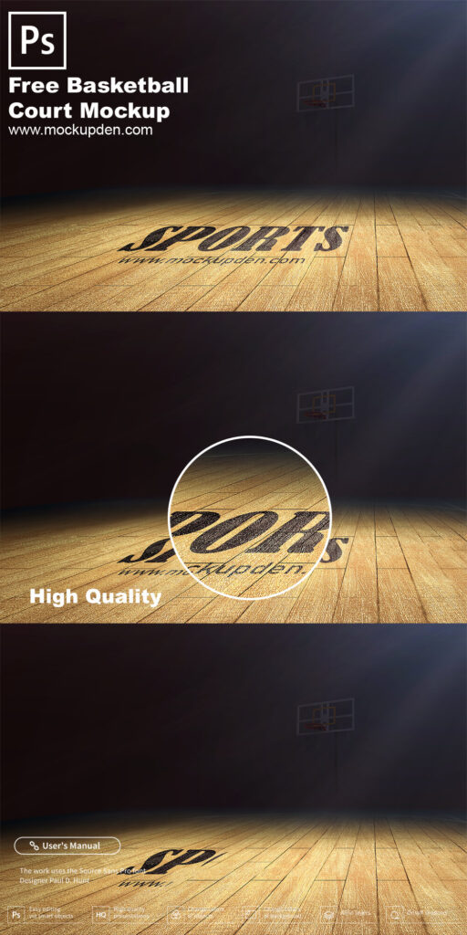 Free Basketball Court Mockup PSD Template