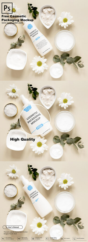 Free Cosmetic Packaging Mockup PSD Template