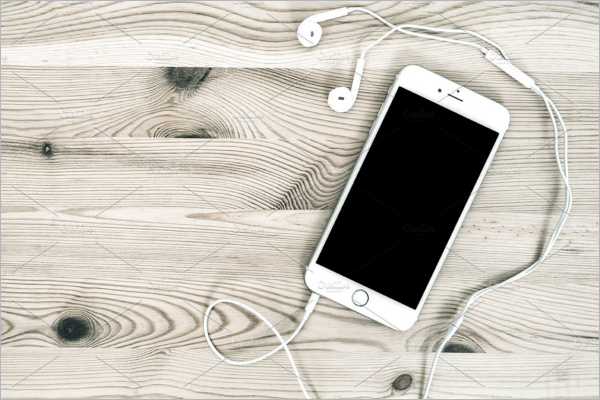 iPhone With Headphones PSD Mockup.