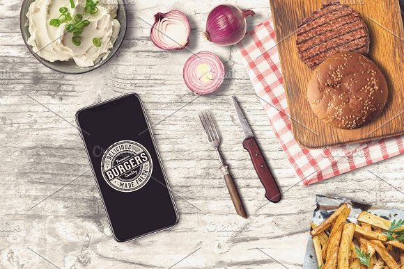 iPhone and a simple burger PSD Mockup