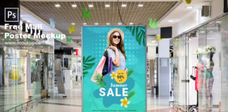 Free Mall Poster Mockup PSD Template