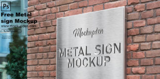 Free Metal Sign Mockup PSD Template