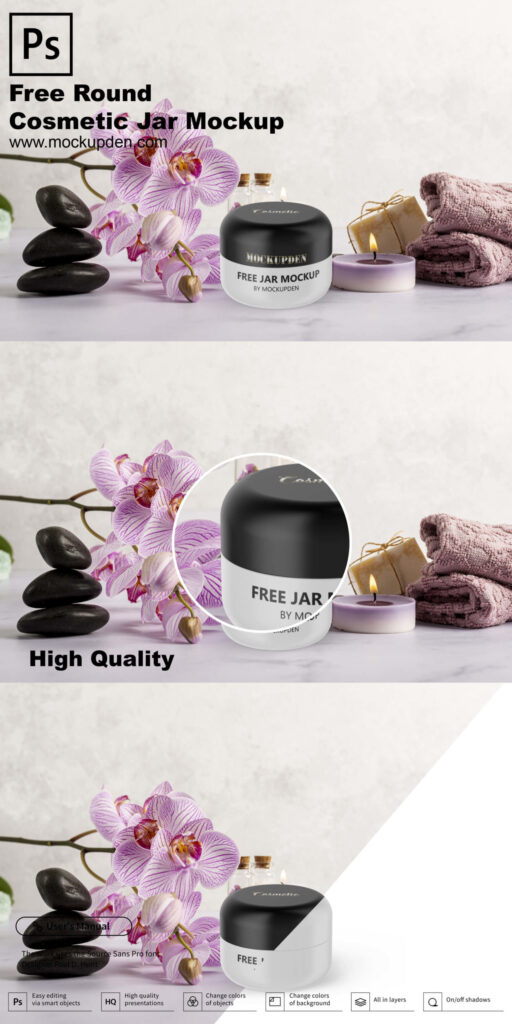 Free Round Cosmetic Jar Mockup PSD Template