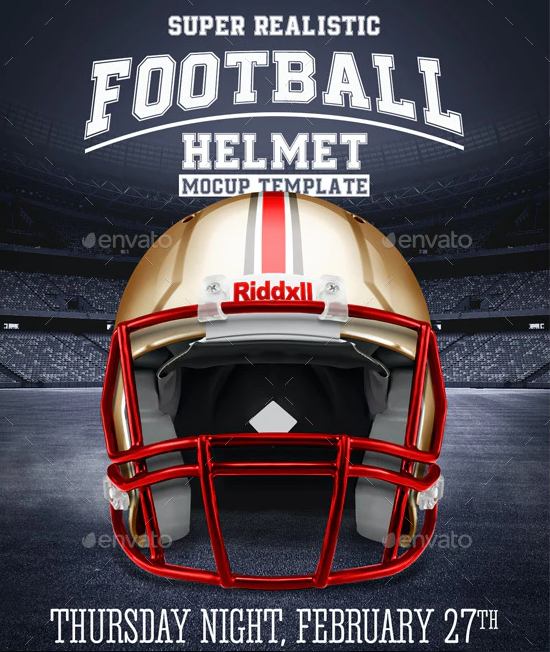 Realistic Football helmet Mockup / Full customizable