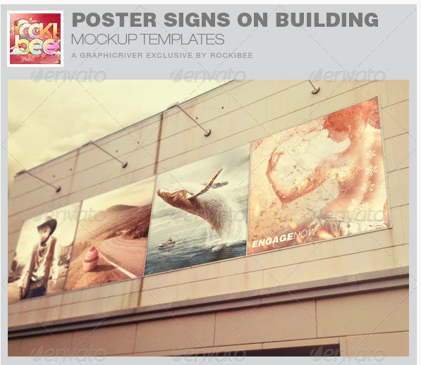 Poster Signs on Building Mockup Templates