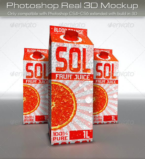 Large Juice or Milk Carton Pack Mockup | 3D Photoshop