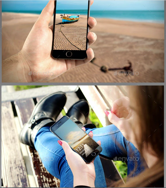 Phone in Hand Mockup Template