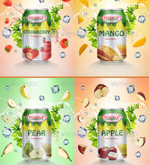 Can of Nectar Juice Mockup