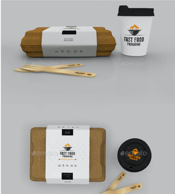 Packaging Sets For Burger And Coffee Mockup.